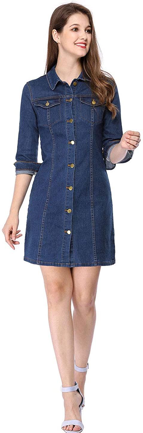 Allegra K Women's Vintage 3/4 Sleeve Button Down Knee Length Denim Shirt Dress