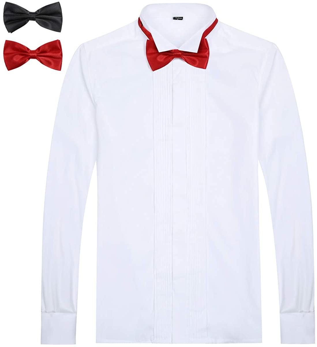Allthemen Mens Dress Shirt Slim Fit Pleated Fold Down Collar Shirts Evening Wedding Tuxedo Dinner Shirts with Bow Tie