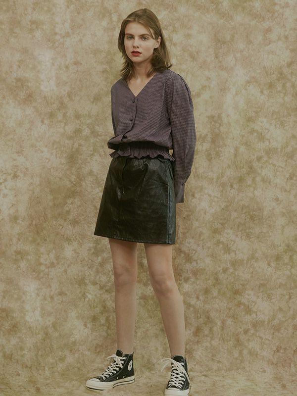 Among Womens A Artificial Leather Belt Skirt Wine