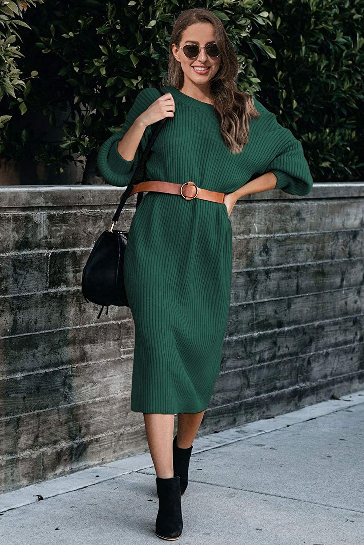 Ancapelion Women's Backless Jumper Dress Long Sleeve Knitted Dresses Midi Long Knitted Dress for Autumn Winter - Green