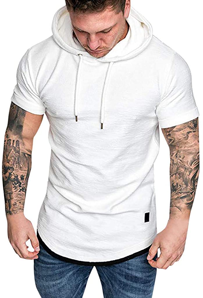 Andouy Fashion Men's Slim Fit Casual Pattern Large Size Short Sleeve Hoodie Blouse