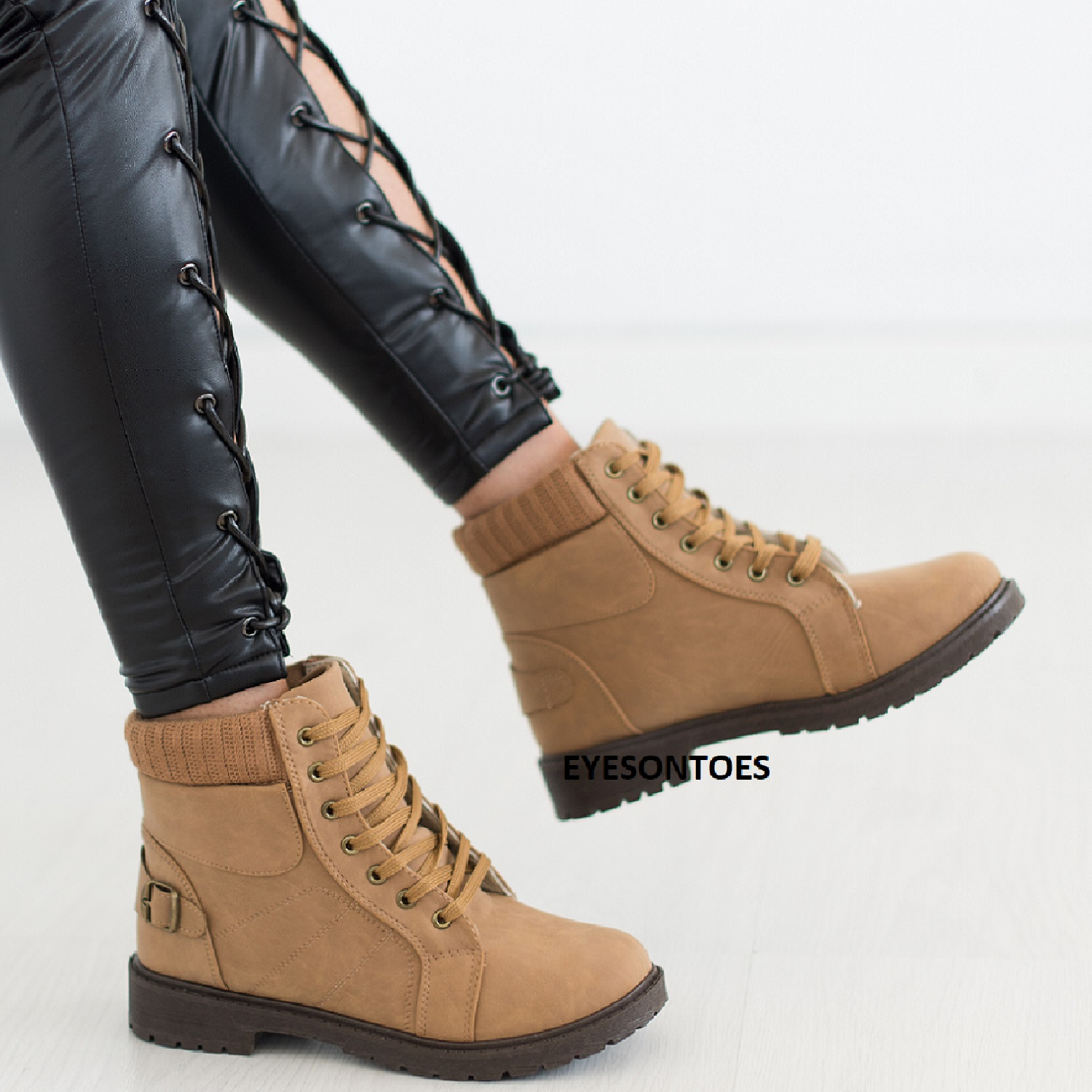 New Womens Ankle Flat Desert Lace Up Combat Winter Ladies Walking Boots Shoes
