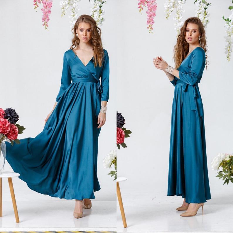 Aquamarine Wrap Dress, 3/4 sleeve Long Dress, Silk Maxi Dress, Wrap Bridesmaid Gown, Bridesmaid Wrap Dress, Bridesmaid Maxi Dress