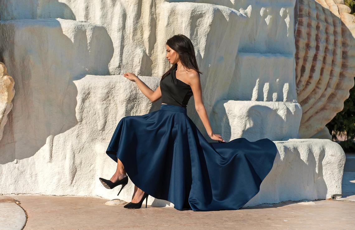 Asymmetric Long Skirt / Satin Skirt / Maxi Skirt / Circle Skirt / Womens Skirt / High Waisted Skirt / Skirt For Women / Elegant Long Skirt