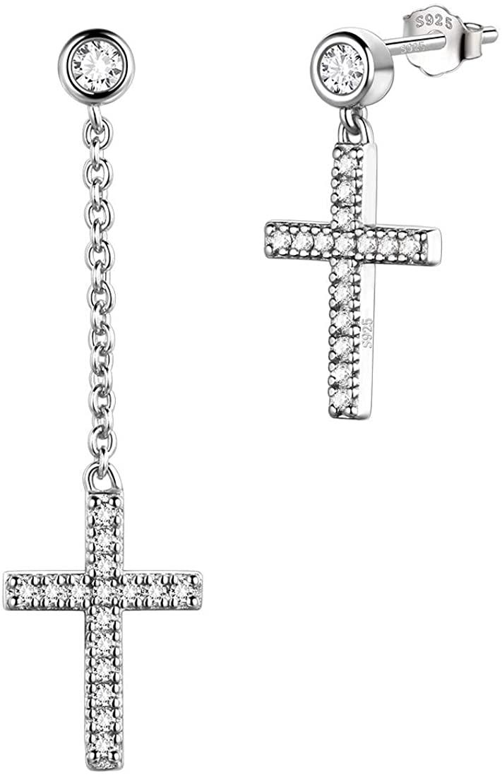Aurora Tears Mens Cross Earrings 925 Sterling Silver with Cubic Zirconia Long Chain Dangle Drop Stud Jewelry Gifts for Men