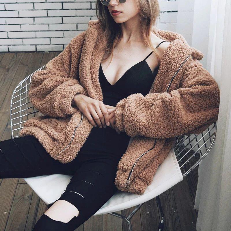 Autumn Winter Faux Fur Coat Women 2020 Casual Warm Soft Zipper Fur Plush Jacket Overcoat Pocket Plus Size Teddy Coat Female XXXL