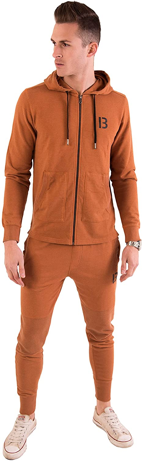 B Thirteen Men's Slim Fit Joggers - Sweatpants Tracksuit Jogging Bottoms Running Trousers with Pockets (Orange)
