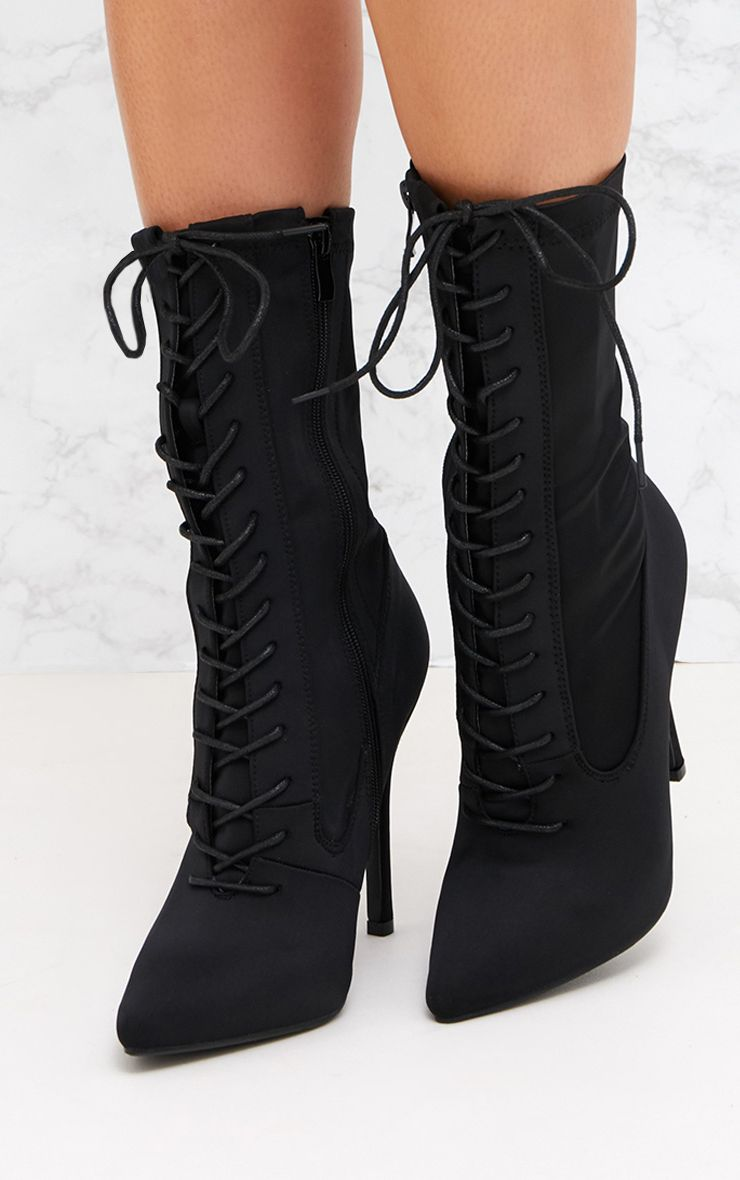 BLACK LACE UP FRONT SOCK BOOTS