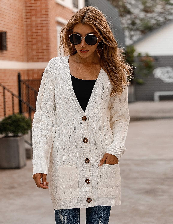 BMJL Women's Chunky Knit Long Aran Cardigan with 2 Pockets Loose Knitwear Oversized Sweater