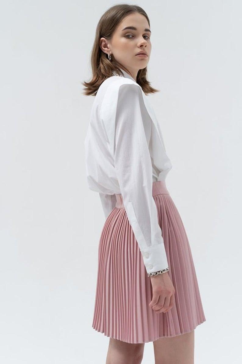 Baby Pink Linen Pleated Skirt - High Waist Linen Pleated Mini Skirt
