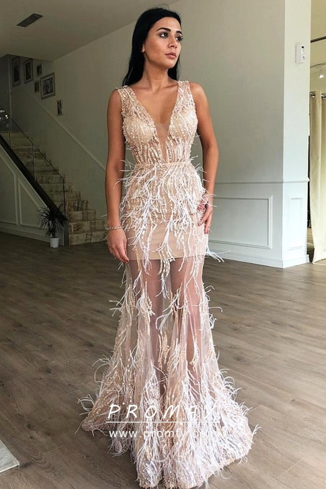 Beige Sheer Tulle with Ostrich Feather Prom Dress