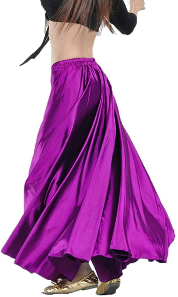 Belly Dance Skirt Tribal Dance Costumes Satin Long Swing Maxi Skirt Full Circle Skirt (Purple)