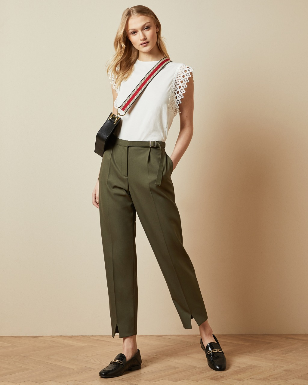 Belt detail tailored khaki trousers