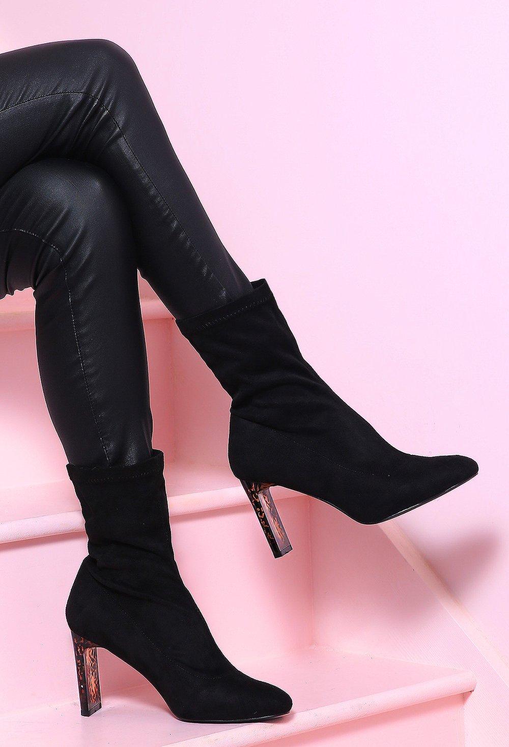 Big Spender Black Perspex Block Heel Sock Boots