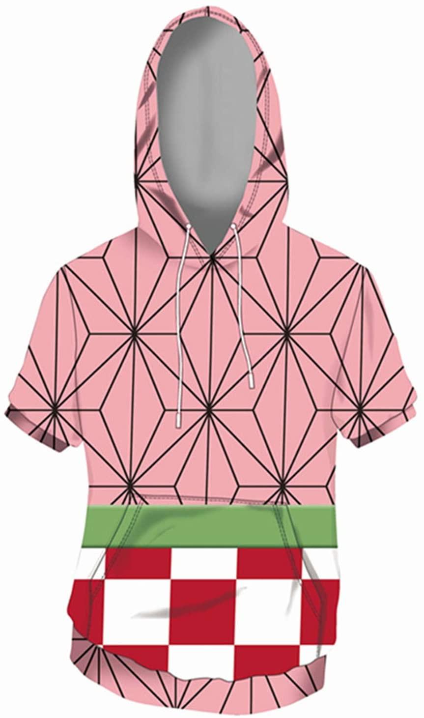 Bilicos Short Sleeve Hoodie Sweatshirt Hoodie Print Tops Jacket Stop You Outwear Demon Kimetsu Slayer Kamado Nezuko
