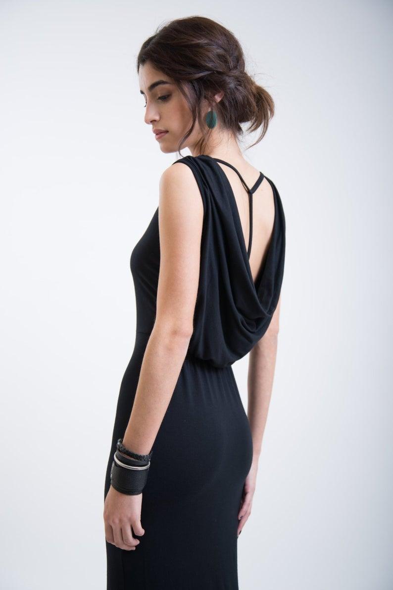 Black Casual Dress, Party Dress, Cowl Back Dress, Tea Length Dress, Midi Dress, Reina Dress, Marcellamoda - MD0147