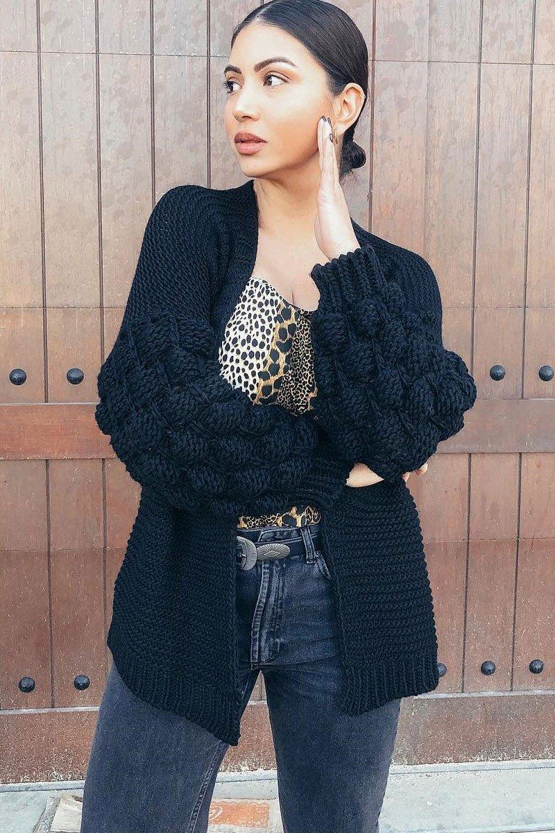 Black Chunky Knit Oversized Cardigan - Eaden