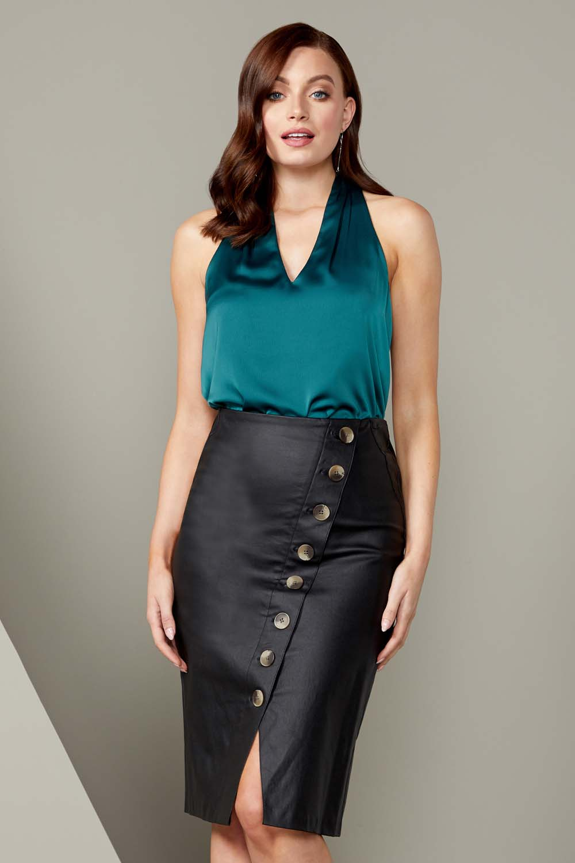 Black Faux Leather Button Midi Skirt