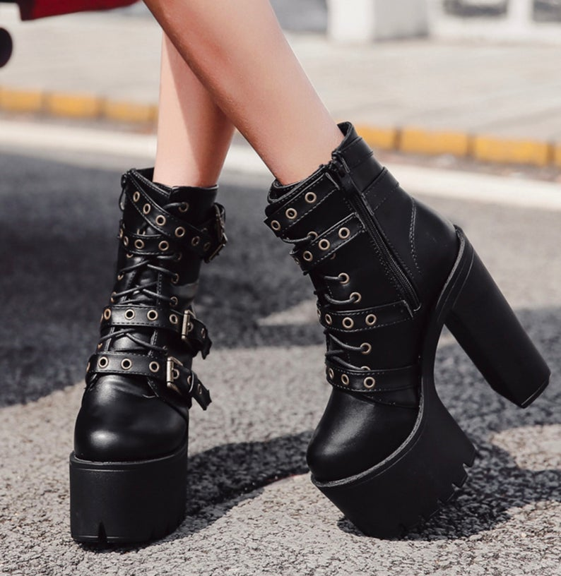 Black Goth Aesthetic Punk Heel Boots