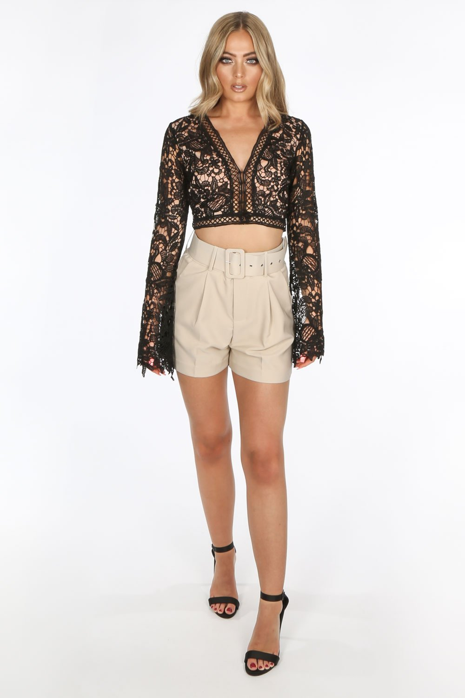 Black Long Sleeve Crochet Crop Top