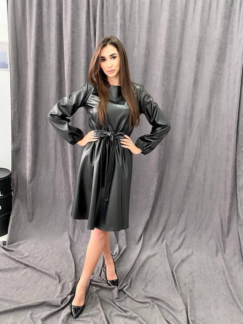 Black Midi Dress Eco Leather on Fleece for Women Slim Fit Under the Belt with Flared Skirt Free Sleeve Crew Neck Casual Warm Vegan Leather