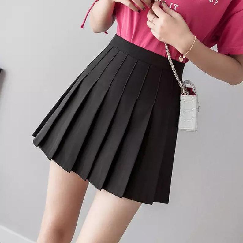 Black Tennis Pleated School Mini Skirt