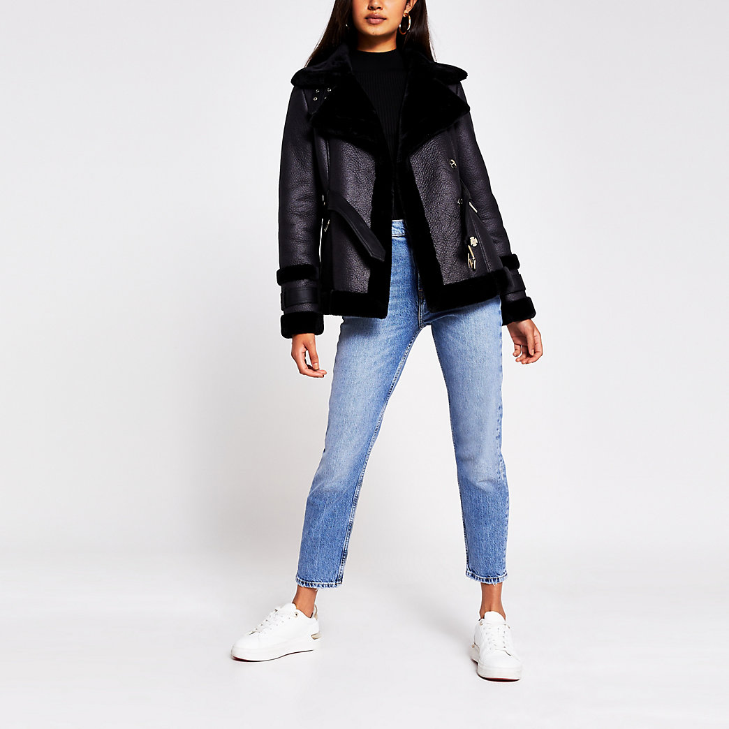 Black belted Faux shearling Aviator jacket