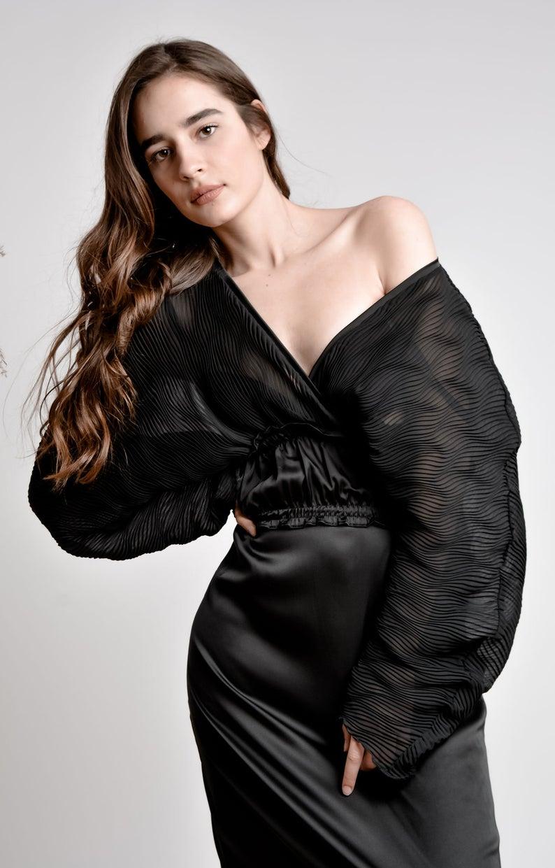 Black midi dress with plunging neckline and high waist / Resort black dress/ Long sleeve midi structural dress