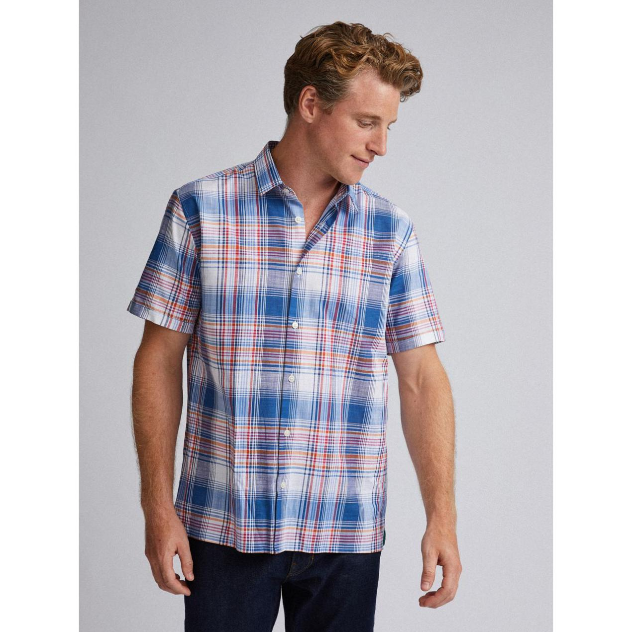 Blue Red Short Sleeves Checked Shirt Blue
