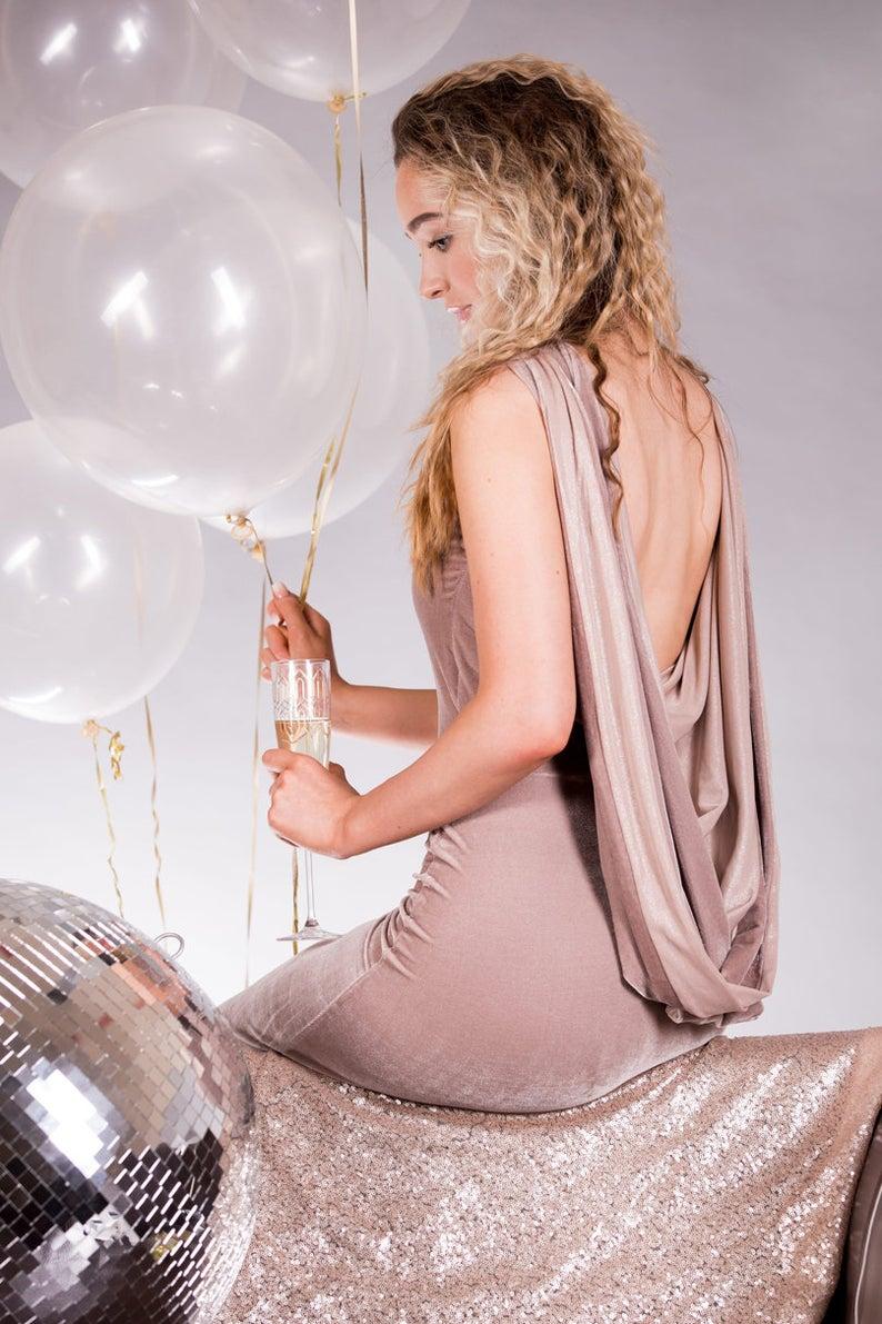 Blush Cowl Back Midi Dress