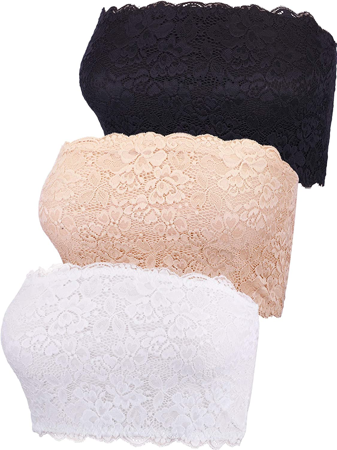 Boao 3 Pieces Women's Floral Lace Tube Top