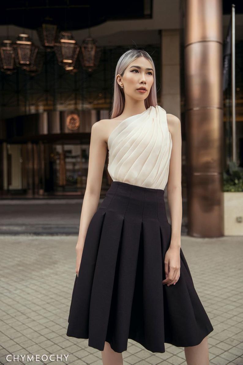 Box Pleated Midi Skirt
