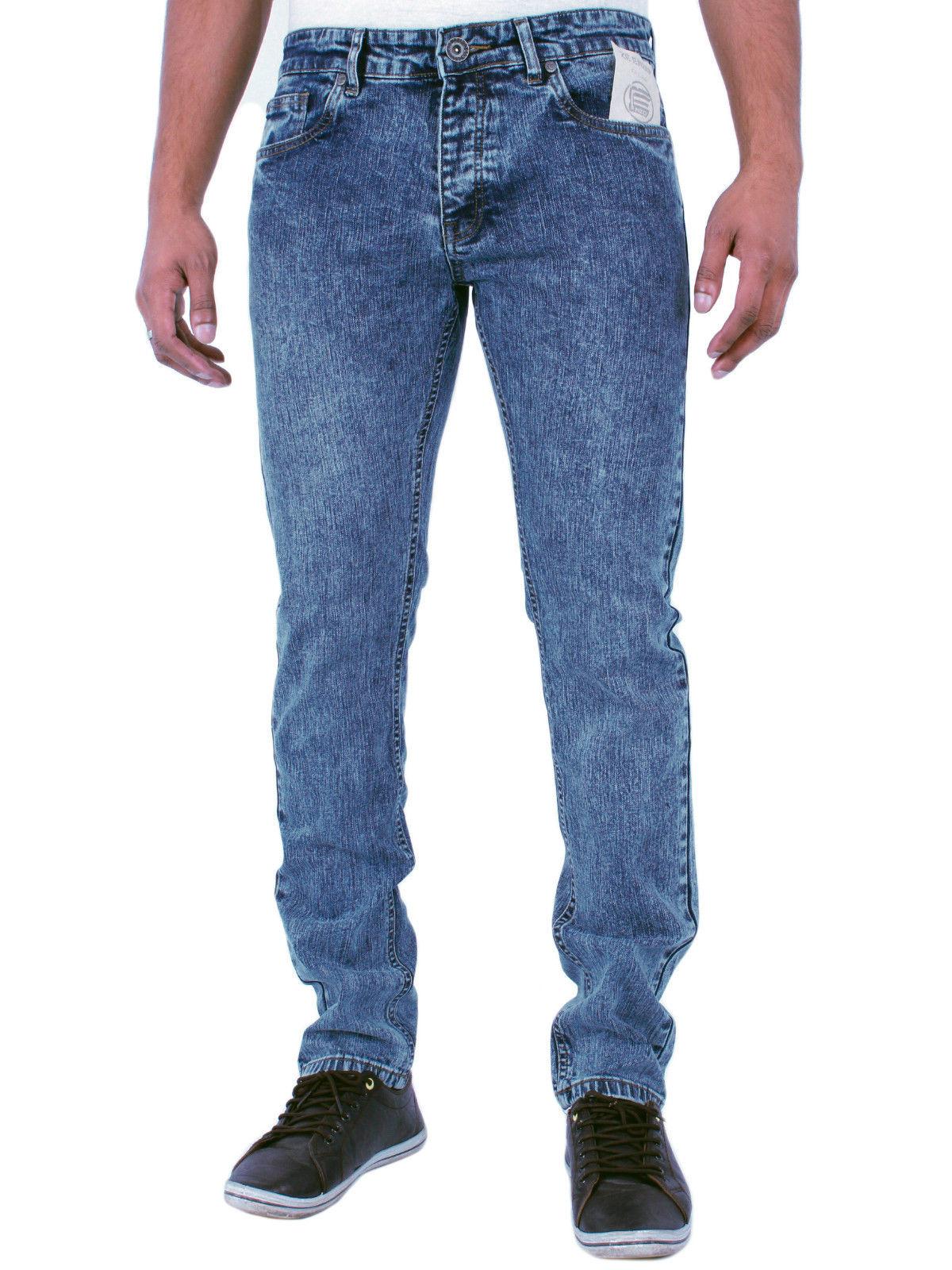 Brand New Mens Designer Enzo Jeans Skinny Blue Acid Wash Jeans
