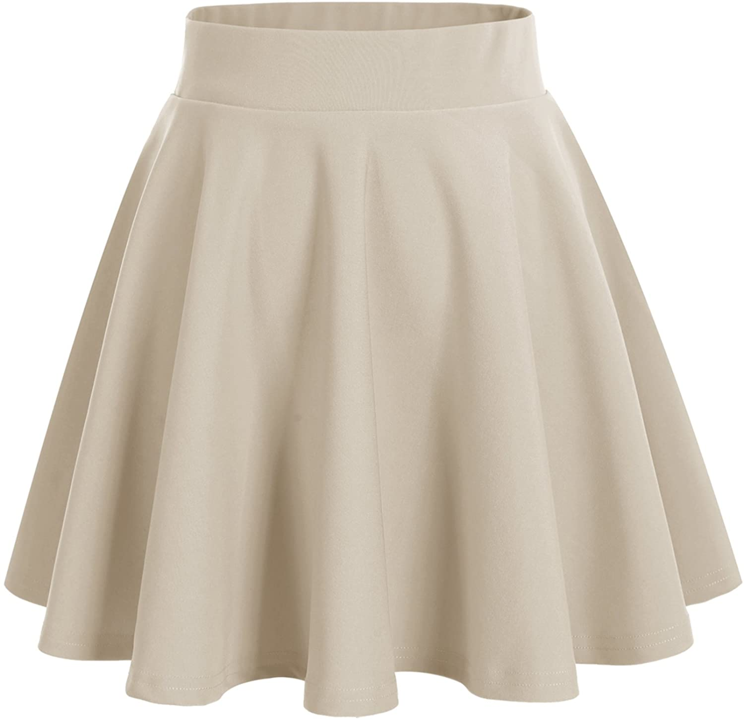 Bridesmay Women's Basic High Waist Casual Midi Skirt Stretchy Skirt