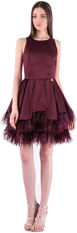 Bronx And Banco Short Prom Feather Trim Dress Burgundy