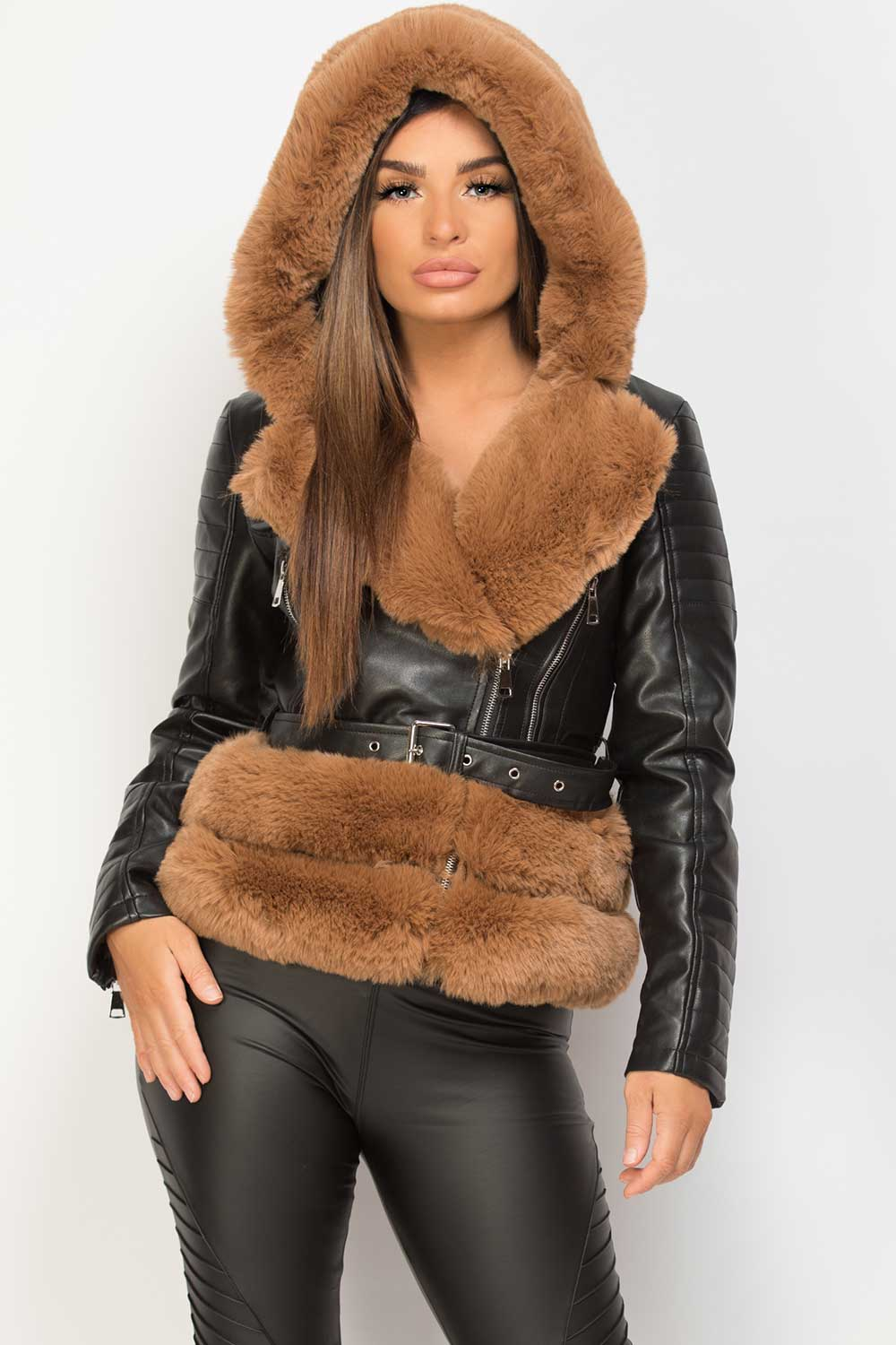 Brown Faux Fur Hooded Faux Leather Belted Jacket