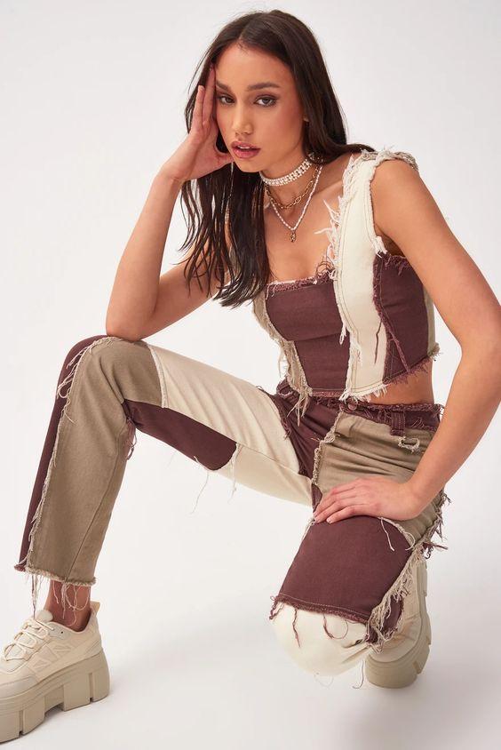 Brown Patchwork Denim Boyfriend Jeans