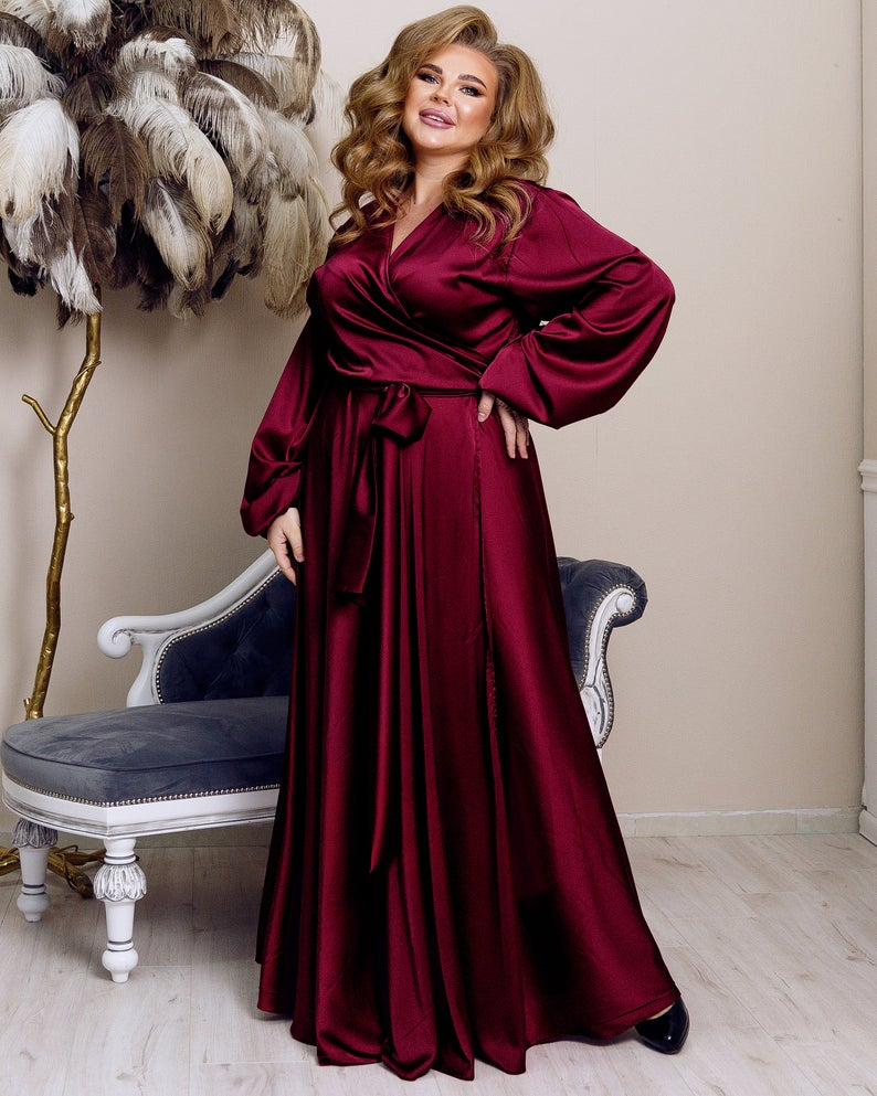 Burgundy Silk Wrap Flared Dress Plus Size Bridesmaid Gown