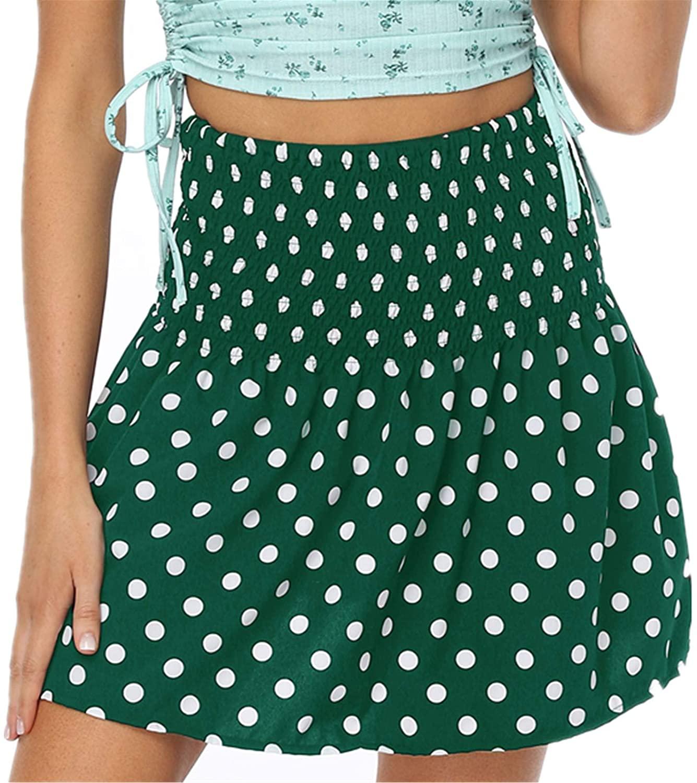 CHICTRY Women's Dot Print High Waist Ruffle Flared Boho A-Line Pleated Skater Beach Mini Skirt