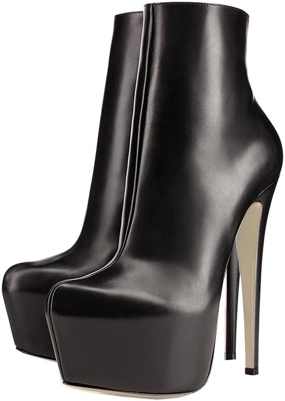 COLETER Women's Platform Ankle Boots Zipper High Heels Shoes Short Booties Five Colors