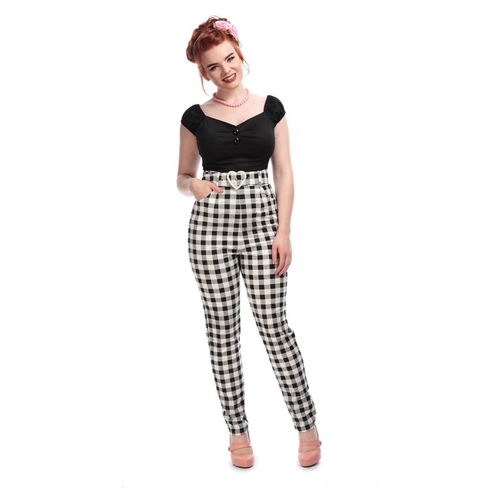 COLLECTIF MAINLINE JANE VINTAGE GINGHAM TROUSERS