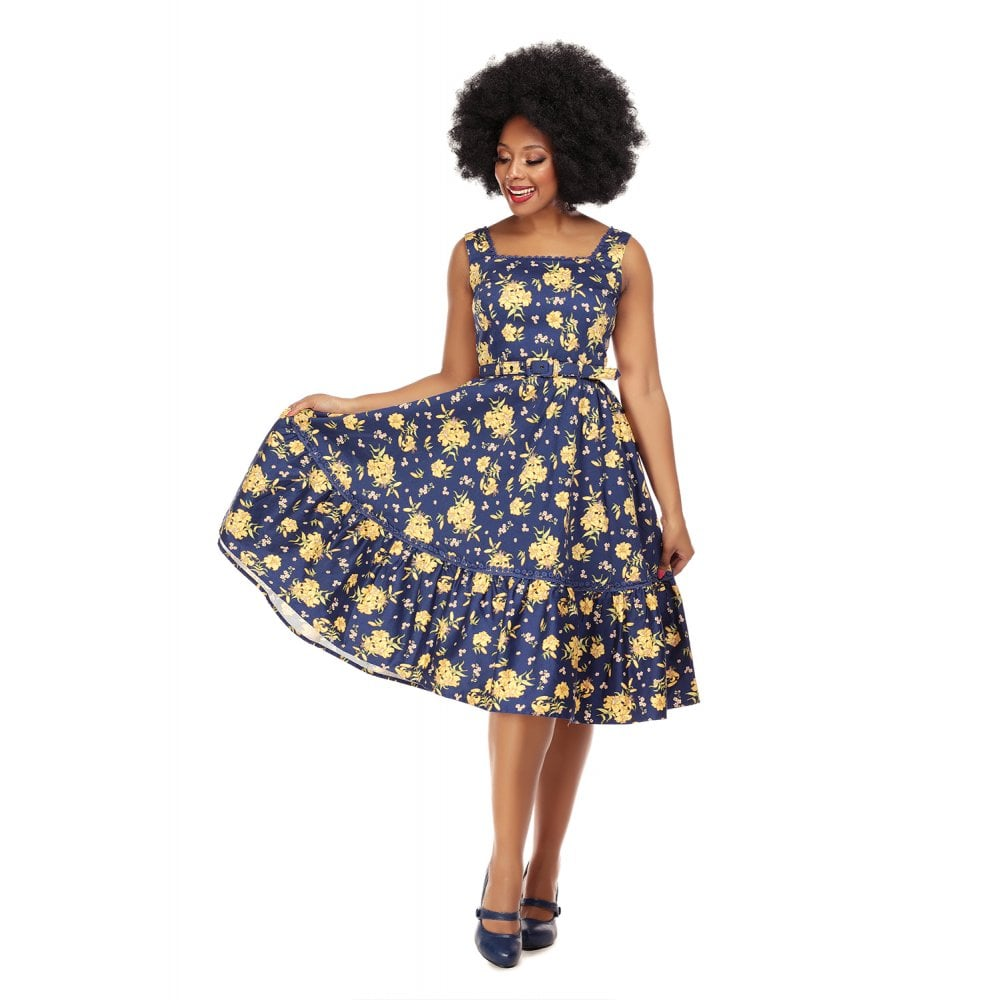 COLLECTIF X MODCLOTH FRIDA CLASSIC FLORAL SWING DRESS