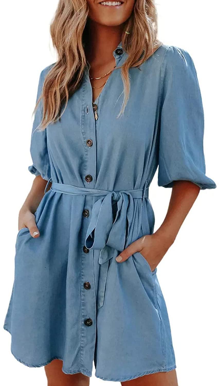 CORAFRITZ Women Summer Denim Jeans Dress Solid Color Pocketed Button Shirt Dress