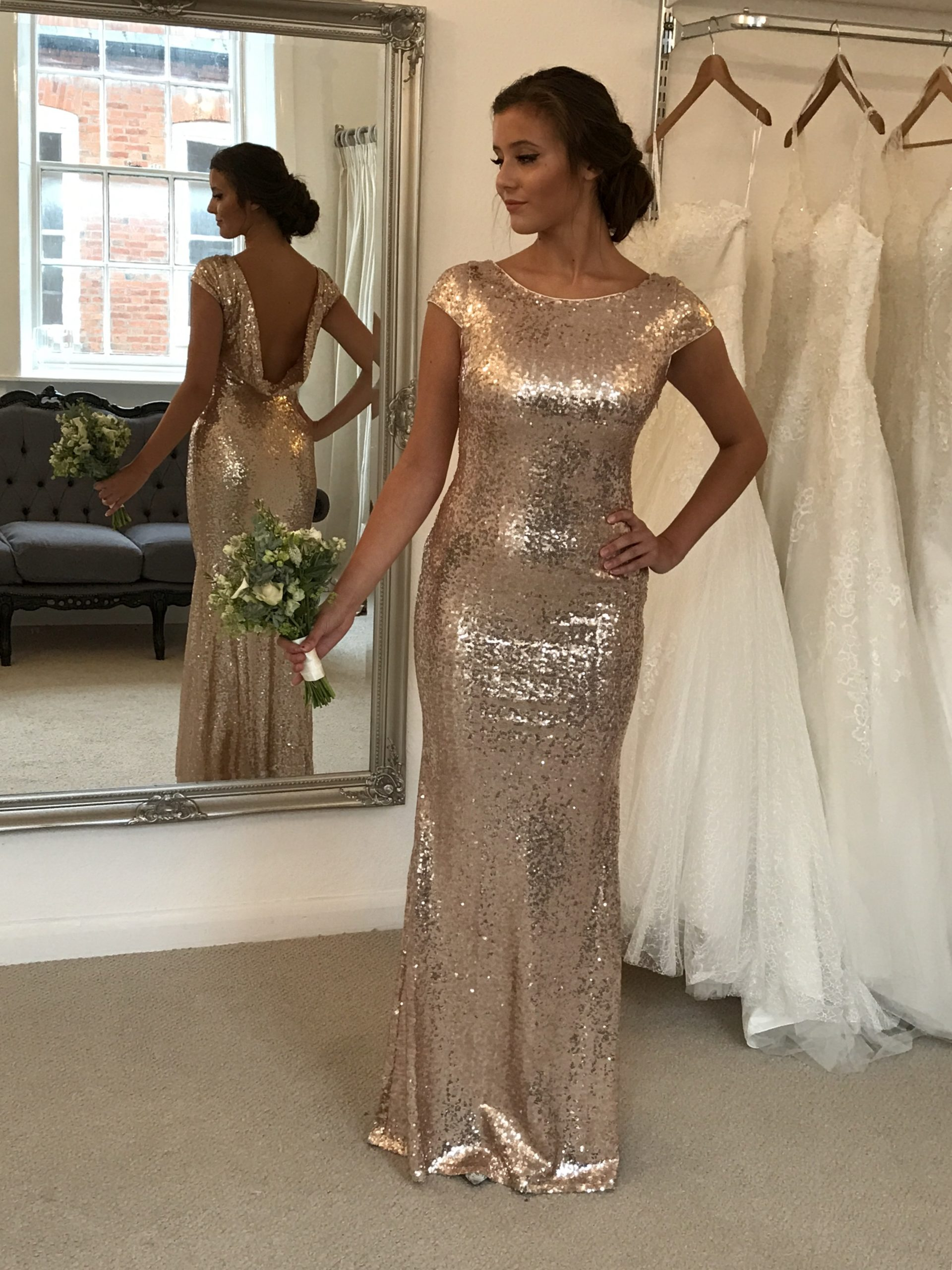 COWL BACK CHAMPAGNE SEQUIN GOWN