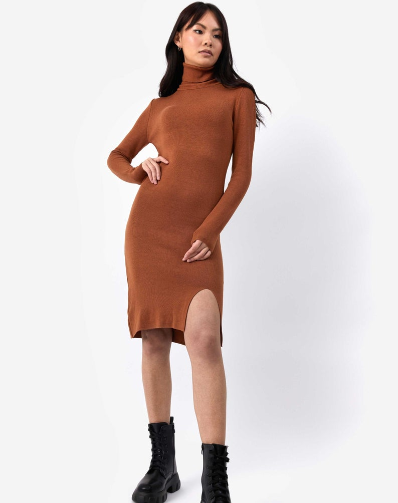 Camel Roll Neck Knit Midi Dress