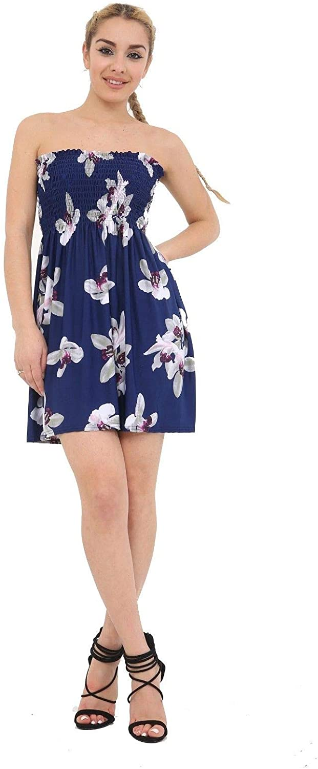 Candid Styles Womens Ladies Sheering Strapless Boobtube Bandeau Flared Swing Dress Tops