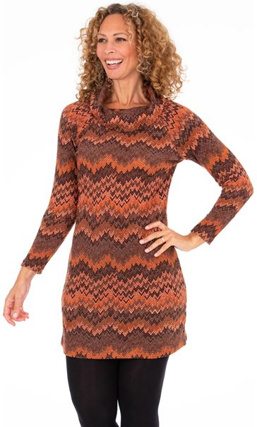 Chevron Print Cowl Neck Dress - Terracotta/Rust
