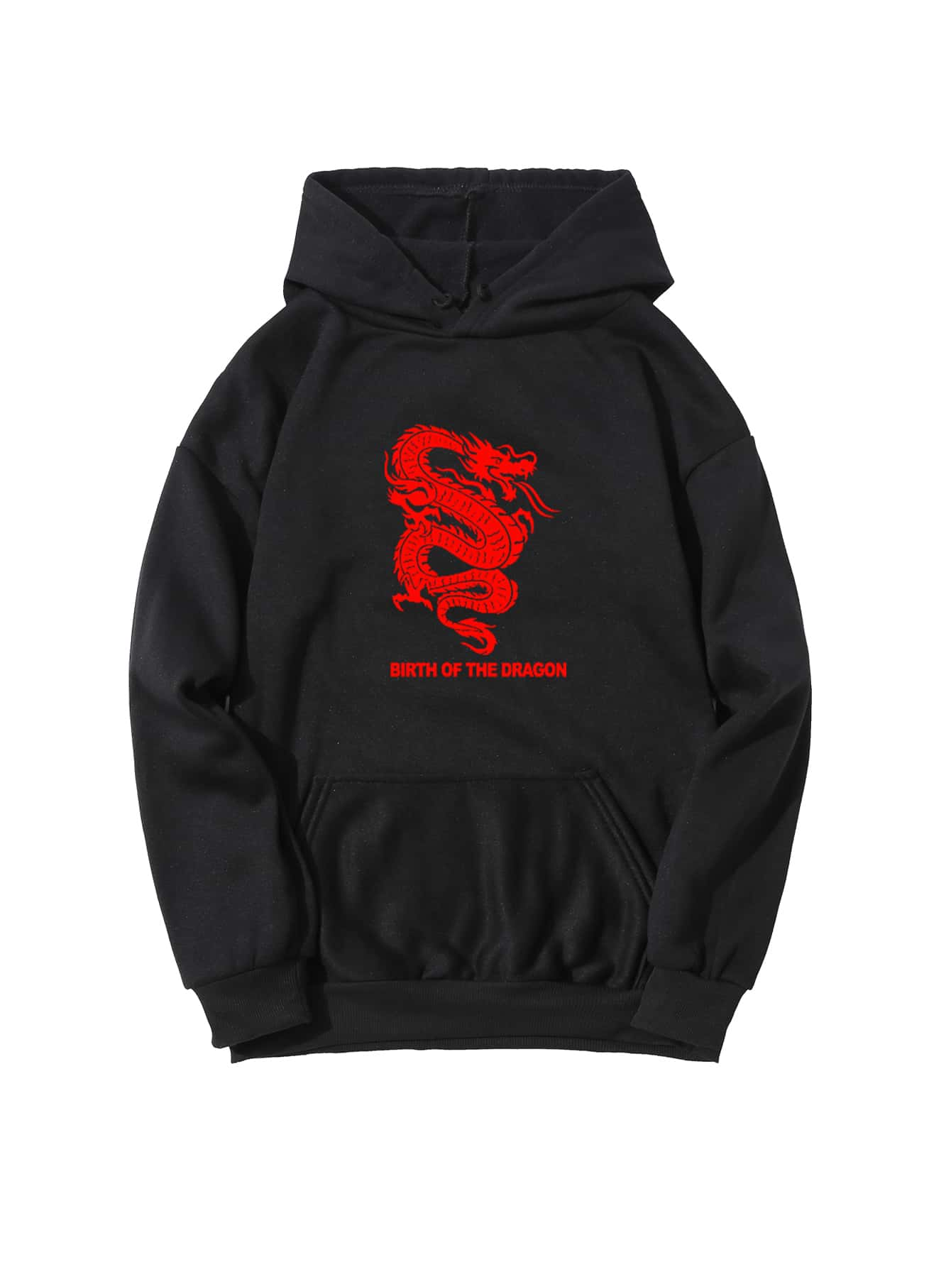 Chinese Dragon & Slogan Graphic Hoodie