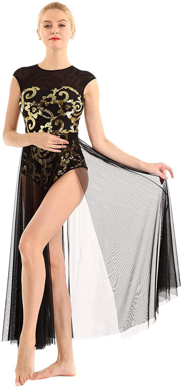 Choomomo Lyrical Womens Adult Sequins Overlay Dance Leotard Costume Flowy Split Skirted Bodysuit Dancewear