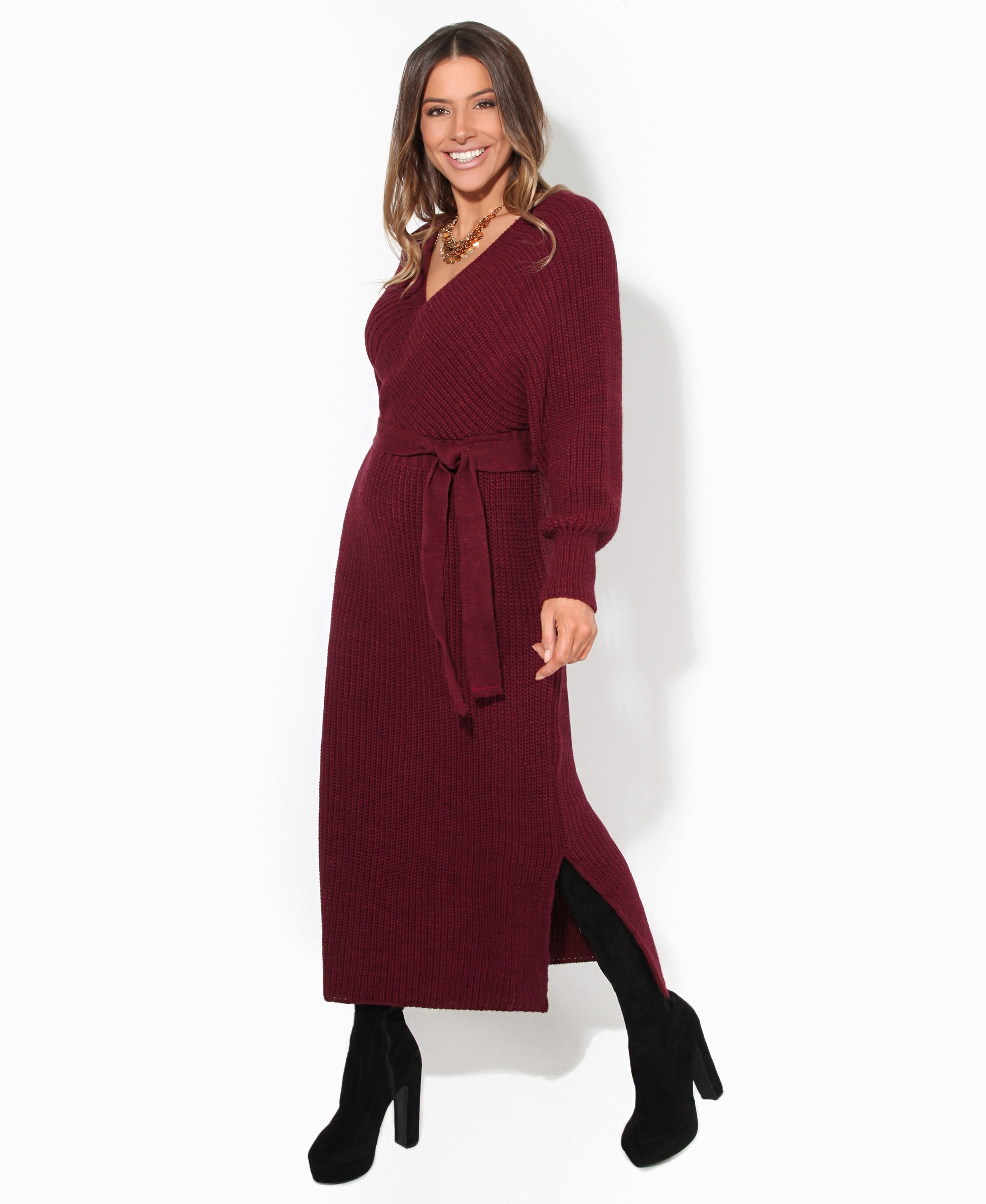 Chunky Knit Wrap Jumper Maxi Dress